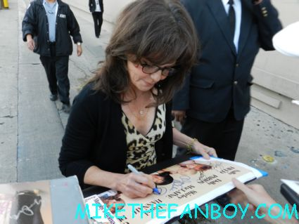 sally field signing autographs for fans while promoting the amazing spider man on a talk show rare steel magnolias