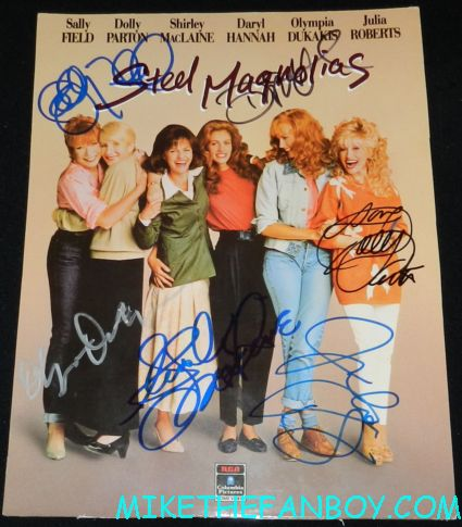 sally field signed autograph signature steel magnolias rare mini poster shirley maclaine julia roberts olympia dukakis daryl hannah dolly parton