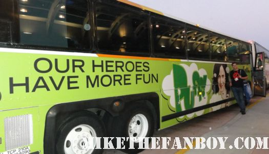 mike the fanboy in front of the weeds promo bus trolly at san diego comic con 2012  our heroes have more fun