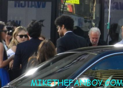 richard ayoade arriving to the premiere of the watch the crowd of people the watch movie premiere red carpet with ben stiller vince vaughn jonah hill and more