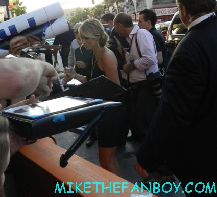 ben stiller and christine tayler signing autographs for fans at the watch movie premiere hot sexy rare promo