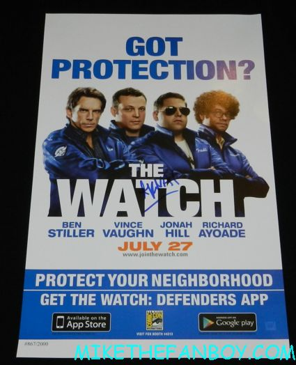 Akiva Schaffer signed the watch promo mini movie poster signing autographs at the world premiere of the watch at the chinese theatre in hollywood
