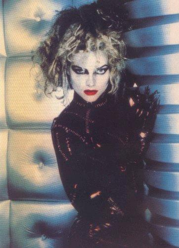Michelle Pfeiffer hot and sexy photo shoot black leather evil eyes rare catwoman frizzy hair