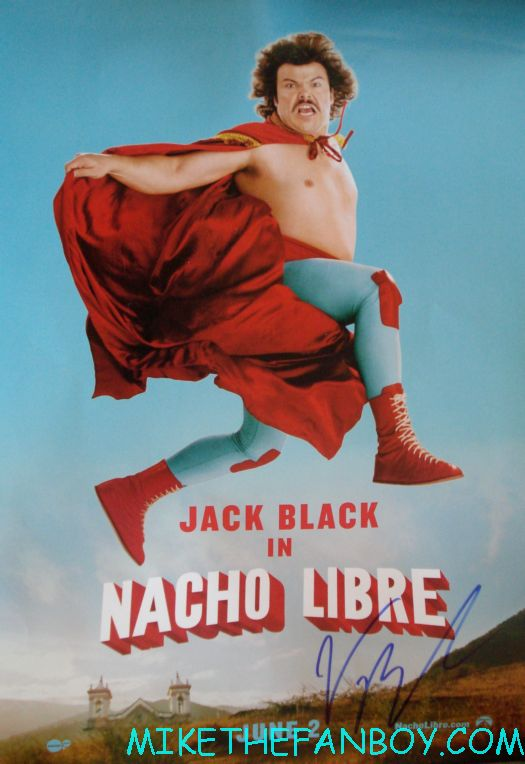 jack black signed autograph nacho libre mini promo poster rare hot movie poster jack black signing autographs for fans movie premiere for the dvd release of kung foo panda on dvd with angelina jolie dustin hoffman jack black autographs and more
