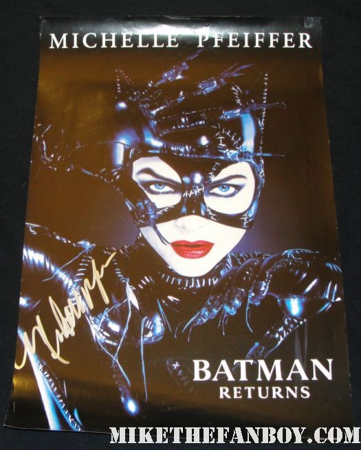 michelle pfeiffer signed autograph catwoman promo poster from Batman returns signed in silver hot sexy rare superhero