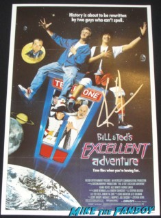 keanu Reeves signed autograph bill and ted's excellent adventure promo mini movie poster one sheet