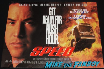 keanu reeves and sandra bullock signed autograph speed promo mini uk quad poster hot sexy rare promo