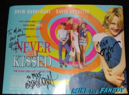 Never Been Kissed rare UK Quad mini movie poster signed autograph drew barrymore david arquette michael vartan hot sexy