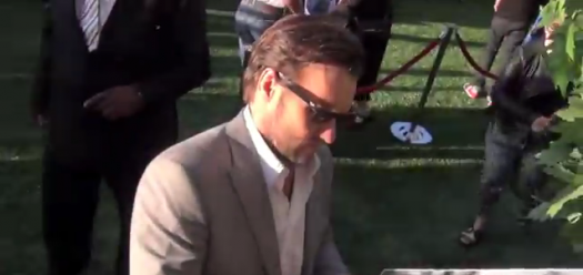 joel edgerton signing autographs for fans at the odd life of timothy green movie premiere rare