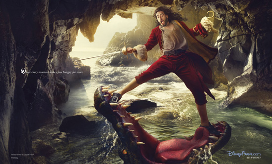russell brand as captain hook for Annie Leibovitz disney parks series let the memories begin