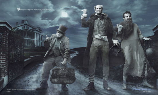 jack black jason segel and will ferrell as the hitchhiking ghosts in Annie Leibovitz disney parks series let the memories begin haunted mansion