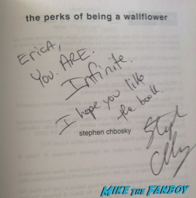 Stephen Chbosky  signed autograph perks of being a wallflower novel rare movie poster promo