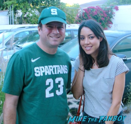 billy with parks and recreation star aubrey plaza posing for a fan photo Aubrey Plaza signed autograph parks and recreation cast photo rare promo amy poehler