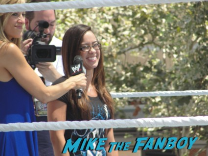 diva aj sexy wrestler looking hot at the wwe Summer Slam Axxess 2012 fan event downtown los angeles signing autographs rare promo