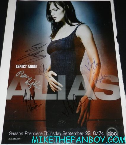 jennifer garner signature autograph on my alias mini promo poster victor garber ron rifkin
