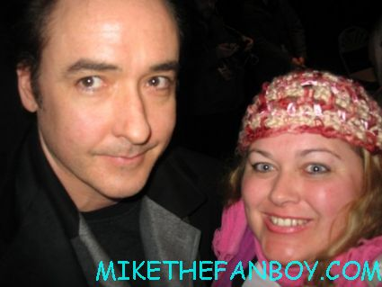 john cusack taking a fan photo with pinky from mike the fanboy signed autograph serendipity 1804 say anything...