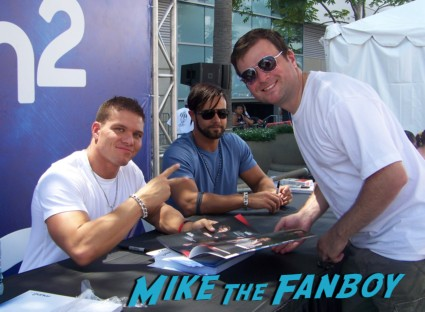 sexy wrestler Tyson Kidd and Justin Gabriel ooking hot at the wwe Summer Slam Axxess 2012 fan event downtown los angeles signing autographs rare promo