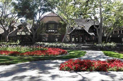the main home at Neverland Ranch rare promo shot of the front gates to michael jackson's home and ranch for children