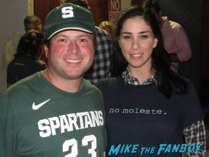 mike the fanboy's billy posing with sexy comedian sarah silverman outside largo