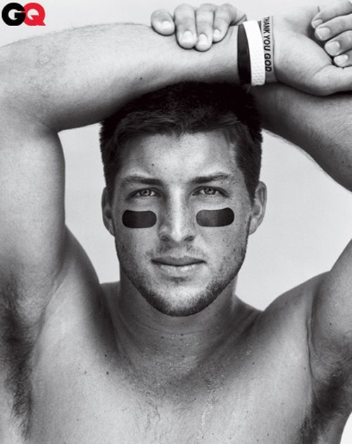 tim tebow hot sexy gq september 2012 magazine cover shirtless naked rare photo shoot promo muscle armpit rare football stud fratboy workout