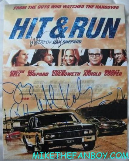 hit and run cast signed autograph movie poster promo kristen bell dax shephard rare promo movie poster one sheet