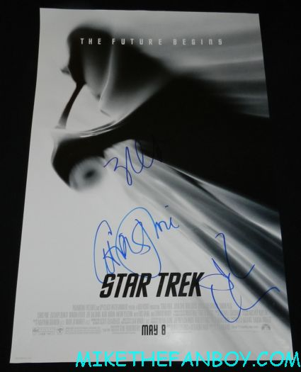 john cho chris pine zachary quinto signed autograph star trek promo mini movie poster
