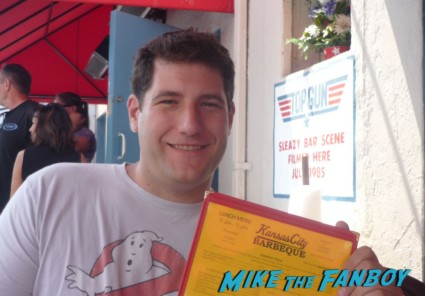 Mike the fanboy at san diego comic con 2012 at Kansas City BBQ filming location of Top Gun
