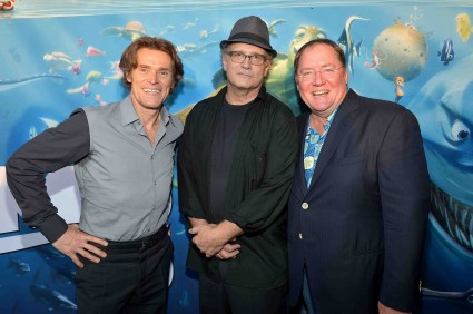 "albert brooks and willem dafoe the cast of finding nemo poses for a cast photo allison janney albert brooks Premiere Of Disney Pixar's ""Finding Nemo"" Disney Digital 3D - Red Carpet"