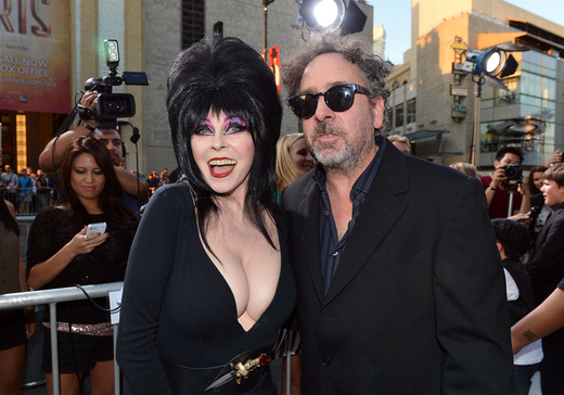 elvira mistress of the dark arriving at the Frankenweenie hollywood movie premiere el capitan theater tim burton catherine O'Hara winona ryder rare signing autographs