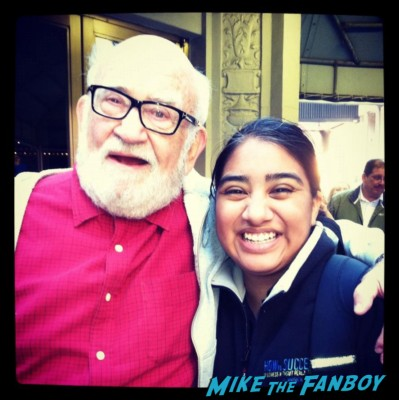 Elisa from Mike The Fanboy with Ed Asner at the broadway cares equity fights aids rare