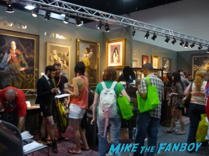 fine art booth at san diego comic con 2012 with 20,000 dollar paintings sdcc rare promo hot fine art