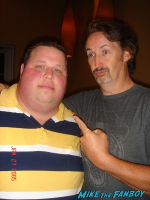 Chuck with funnyman Harland williams posing for a fan photo after a comedy show in texas