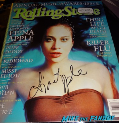Fiona Apple signed autograph rolling stone magazine 1990 rare promo hot sexy signed Fiona Apple taking a rare fan photo after the concert at the greek theater in los angeles fiona apple greek theater los angeles ca concert photo rare promo live september 14th 2012 hot sexy rare