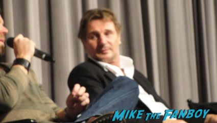 Liam Neeson, Frank Grillo, Joe Carnahan, and Dermot Mulroney at a q and a for the grey at SAG pacific design center