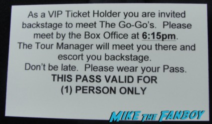 The Go-Go's meet and greet passes and wristbands before the live concert rare vip ticket holders