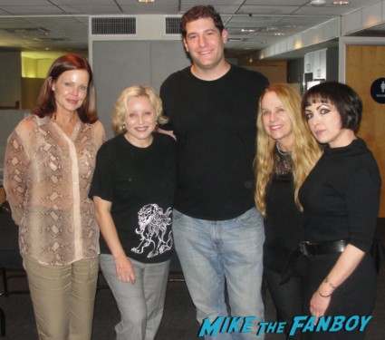 Mike The Fanboy posing with The Go-go's before the hollywood bowl show belinda Carlisle Jane Wiedlin Charlotte Caffey Gina Schock