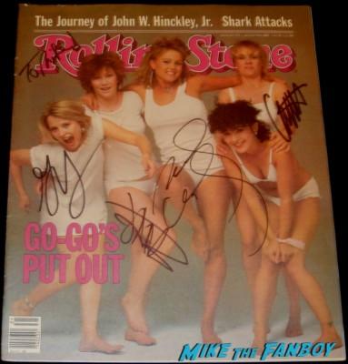the Go-Go's band signed autograph rolling stone magazine belinda carlisle jane wiedlin charlotte caffey gina schock