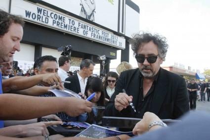 tim burton signing autographs for fans  at Frankenweenie Fantastic Festival world movie premiere with Tim Burton Winona Ryder Martin Landau
