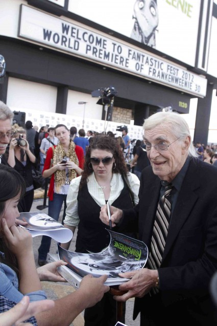Martin Landau signing autographs at the Frankenweenie Fantastic Festival world movie premiere with Tim Burton Winona Ryder Martin Landau