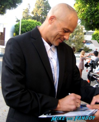 sexy David Labrava signs autographs for fans at the sons of anarchy premiere in westwood