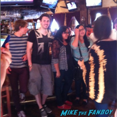 the inbetweeners at at saddle ranch in los angeles The cast of the uk hit film the inbetweeners at pink's hot dogs in los angeles Simon Bird, James Buckley, Blake Harrison and Joe Thomas