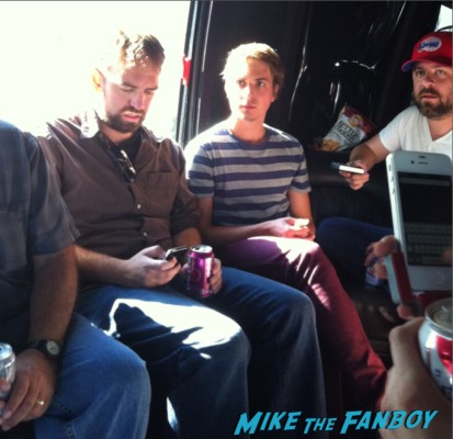 The cast of the uk hit film the inbetweeners on a party bus in los angeles Simon Bird, James Buckley, Blake Harrison and Joe Thomas