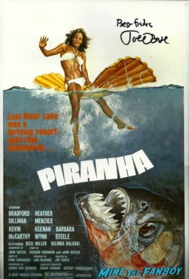 joe dante signed autograph piranha mini movie poster promo original cover art