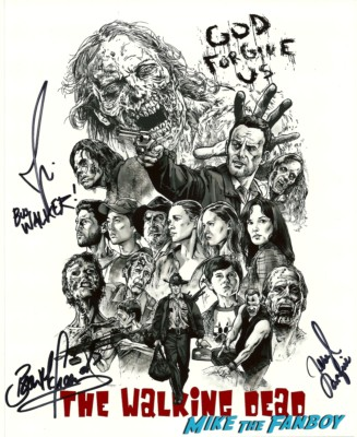 Joe Giles (Notable Walking Dead Bus Walker), Brian Hillard (Bloated Well Zombie), Bear McCreary (composer) the walking dead signed autograph dvd cover rare promo