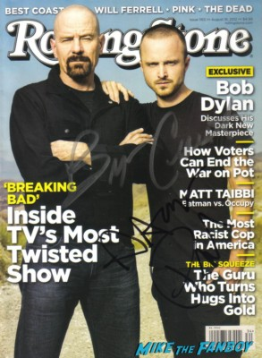 breaking bad signed rolling stone magazine aaron paul bryan cranston rare promo rolling stone magazine cover