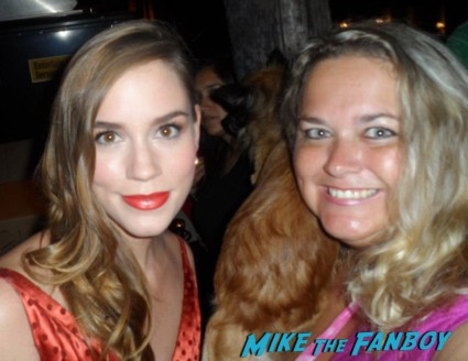 christa b allen posing for a photo with pinky from mike the fanboy at an emmy party in beverly hills