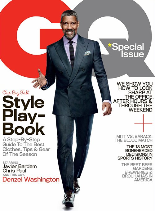 denzel washington rare promo gq magazine cover hot sexy photo shoot rare flight new movie press still sexy photo shoot pelican brief