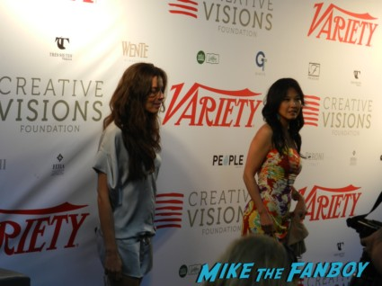 two wanna be starlets on the red carpet for the Variety screening series party in Santa Monica