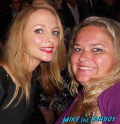 heather graham posing for a fan photo with pinky from mike the fanboy at a play opening license to drive hangover rare hot sexy