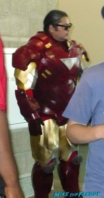 husky iron man tony stark cosplayer at stan lee's comikaze expo 2012 sweating in the heat of the day